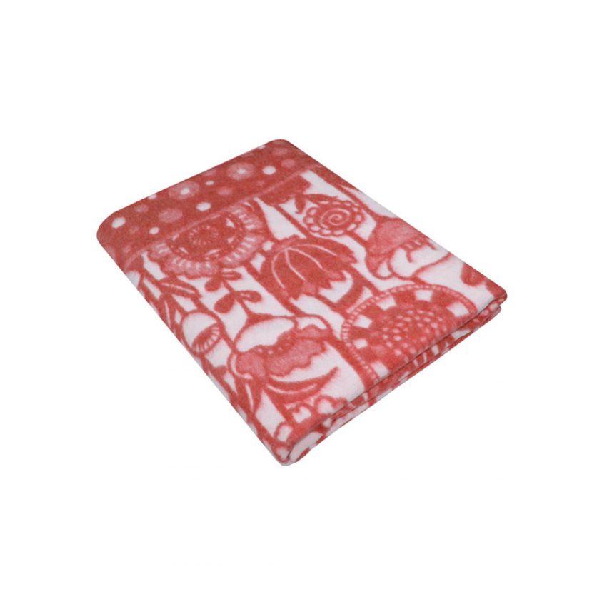 """Байковое одеяло """"Цветы"""" красное"""